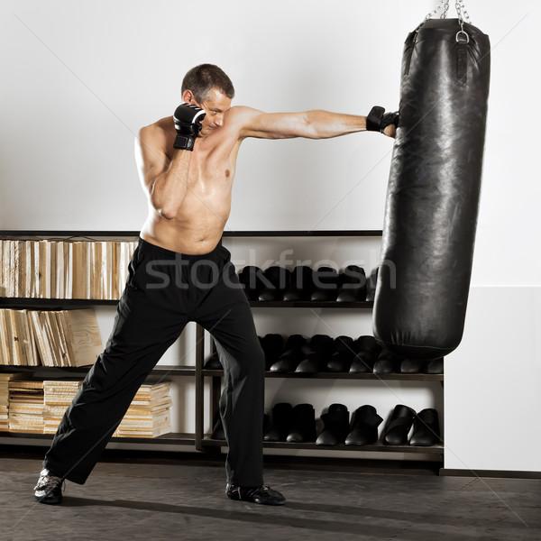 Boksen afbeelding man studio sport gezondheid Stockfoto © magann