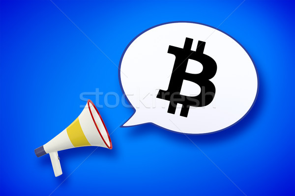 Mégaphone bulle bitcoin signe 3d illustration affaires Photo stock © magann