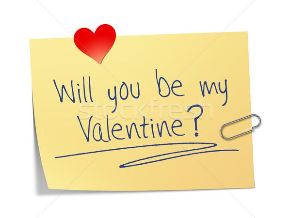 Papír üzenet enyém Valentin nap iroda szeretet Stock fotó © magann