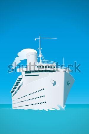 Cruiseschip oude stijl hemel oranje oceaan Stockfoto © magann