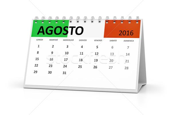 итальянский язык таблице календаря 2016 август Сток-фото © magann