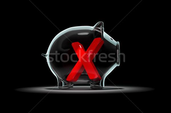 a piggy bank with a red cross inside Stock photo © magann