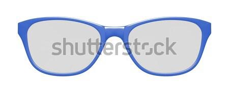 Stok fotoğraf: Mavi · gözlük · beyaz · 3d · illustration · okul · çerçeve
