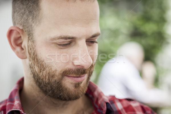 Erkek portre sakal görüntü yakışıklı adam gülümseme Stok fotoğraf © magann