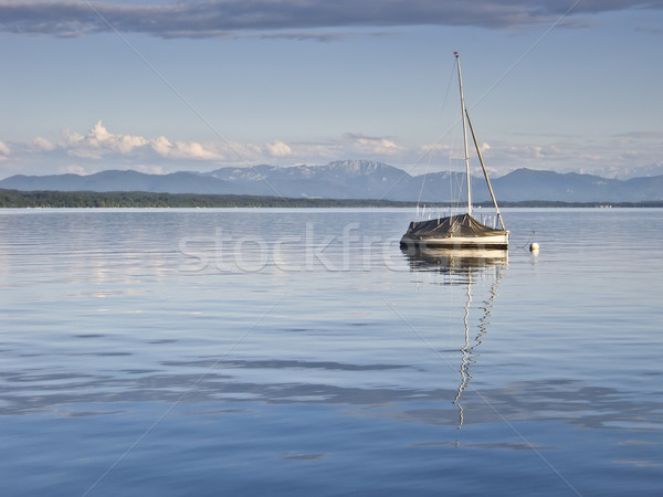 Stil meer afbeelding boot hemel achtergrond Stockfoto © magann