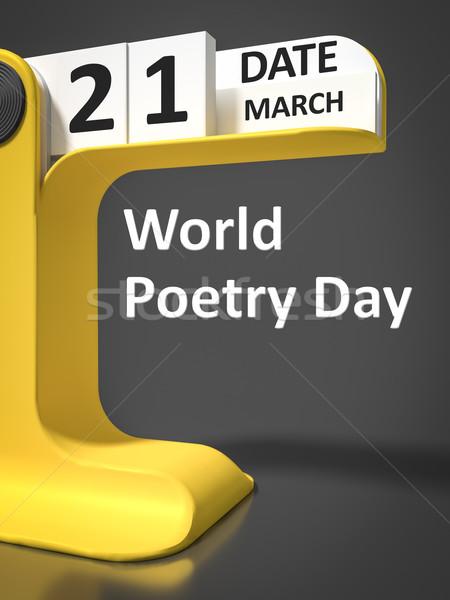 Bağbozumu takvim dünya şiir gün iş Stok fotoğraf © magann