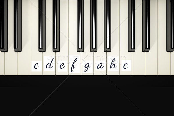 classic piano keys with note signs Stock photo © magann