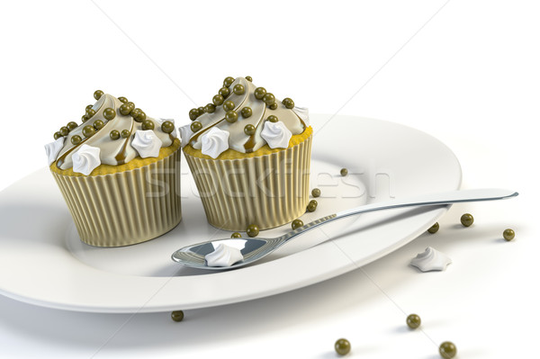 two delicious cupcakes on a plate Stock photo © magann