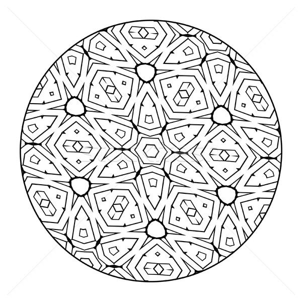 Mandala czarno białe obraz nice kwiat projektu Zdjęcia stock © magann