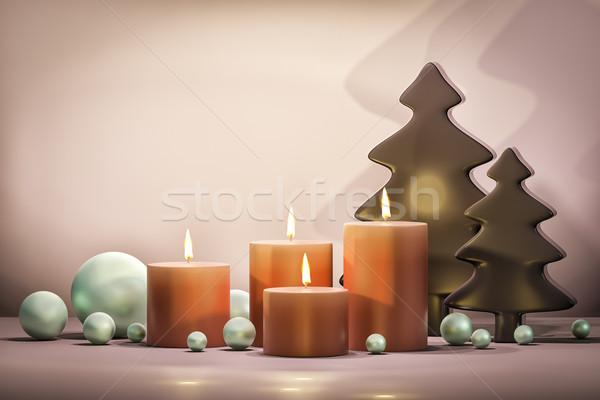 Négy gyertyák karácsony idő 3d illusztráció fa Stock fotó © magann