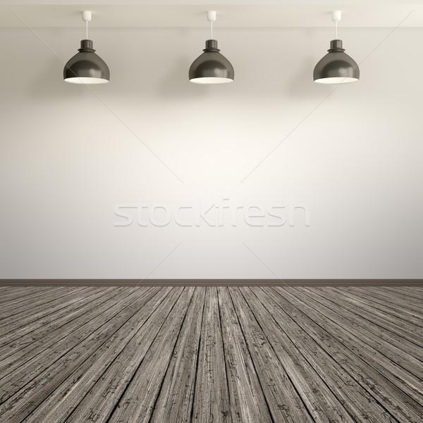 Lege kamer lampen drie eigen inhoud textuur Stockfoto © magann