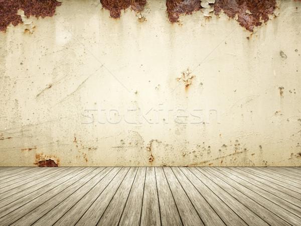 Lege kamer roestige muur eigen inhoud hout Stockfoto © magann