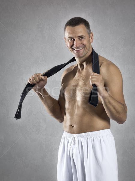 Midden leeftijd vechtsporten sport man zwarte Stockfoto © magann