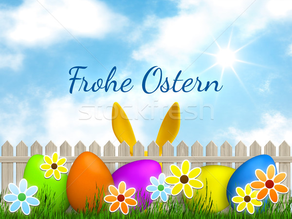 Ostern Grafik Frohe Ostern Sprache Illustration Wolken Stock foto © magann