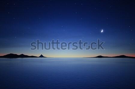 Silêncio noite lua estrelas 3D Foto stock © magann