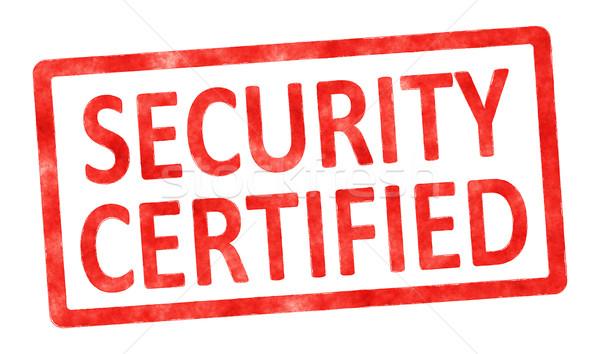 Tampon sécurité certifié image texte blanche Photo stock © magann