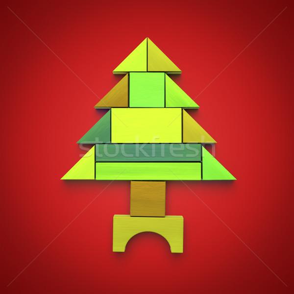 Karácsonyfa tömbházak 3d illusztráció fa boldog háttér Stock fotó © magann