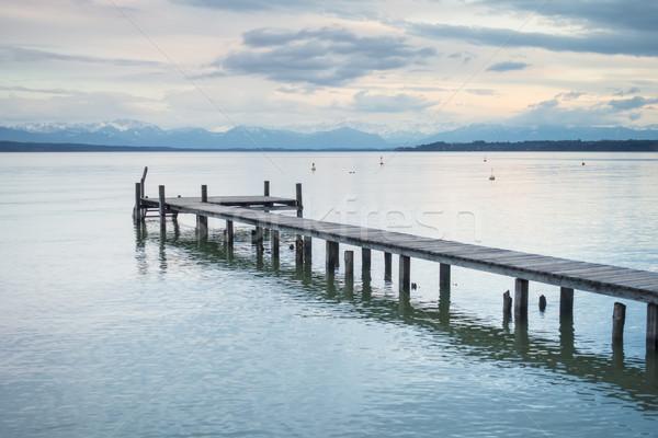 wooden jetty Starnberg lake Stock photo © magann
