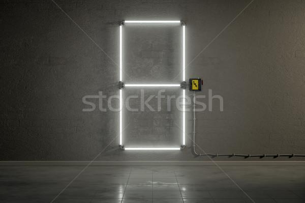 Neon gebouw aantal acht 3D Stockfoto © magann