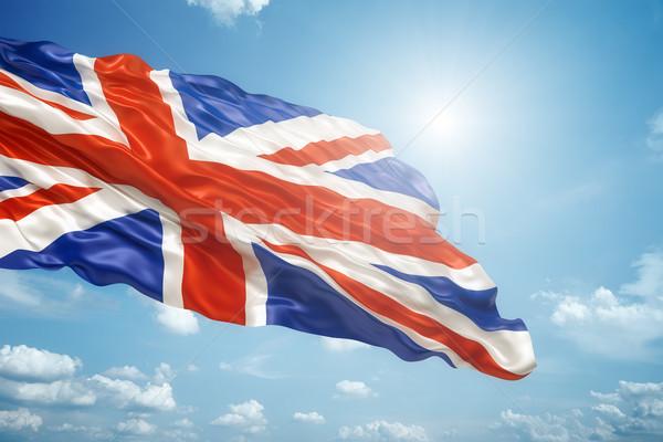 Brit zászló kék ég kép égbolt terv kereszt Stock fotó © magann