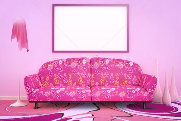 Flor-de-rosa poder sofá 3D interior Foto stock © magann