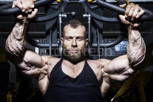 Bello barbuto bodybuilding uomo immagine petto Foto d'archivio © magann
