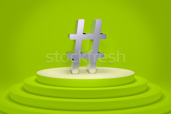 a green podium with a hashtag Stock photo © magann