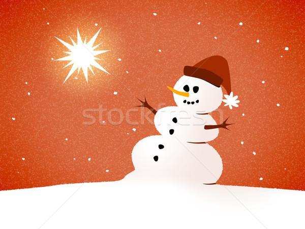 Sneeuwpop kaart afbeelding mooie gelukkig landschap Stockfoto © magann