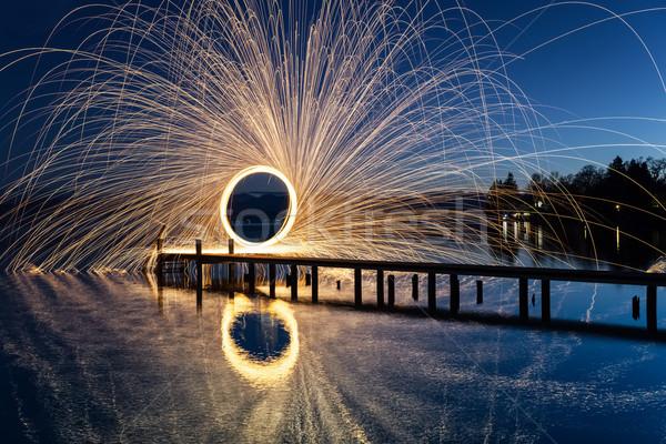 Lago Germania anello fuoco acqua dance Foto d'archivio © magann