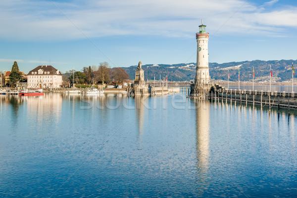 Kikötő kép gyönyörű égbolt épület város Stock fotó © magann