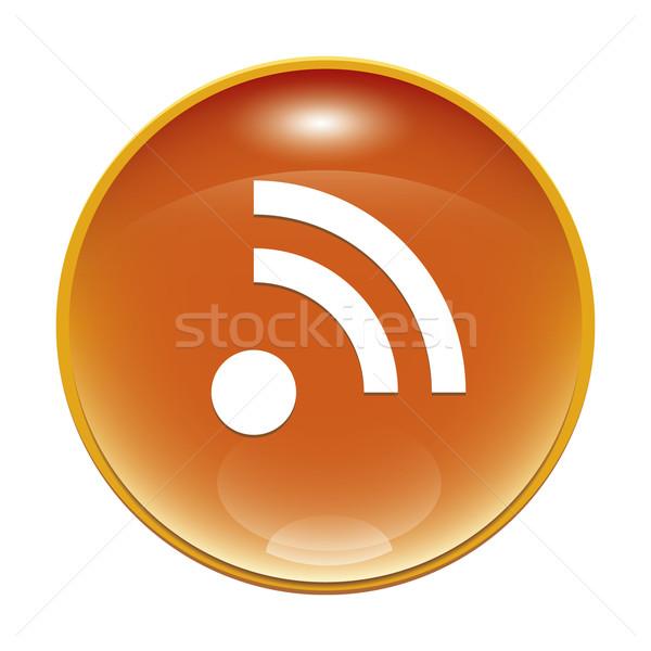 Rss знак изображение оранжевый rss Подача икона Сток-фото © magann