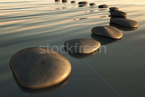 step stones sunset Stock photo © magann