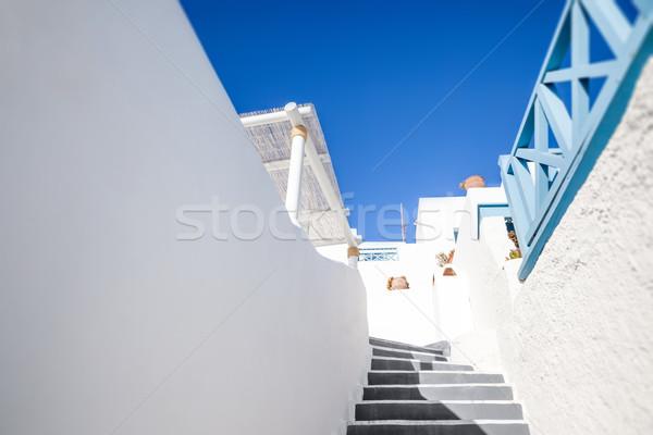 Santorini Görögország kép lépcsősor épület természet Stock fotó © magann