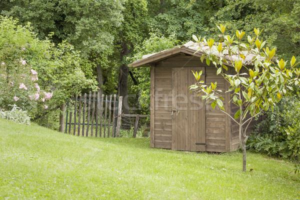 Ogród chata starych bramy obraz kwiat Zdjęcia stock © magann