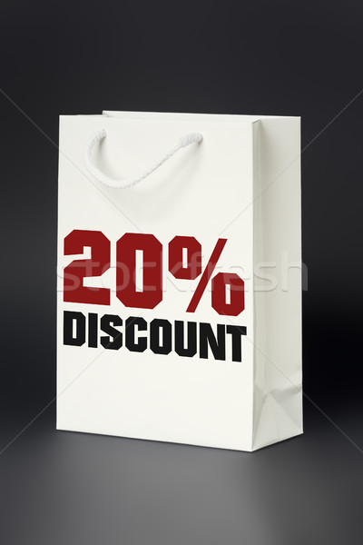 white shopping bag 20 percent discount Stock photo © magann