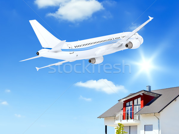 airplane over house Stock photo © magann