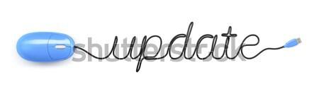 Muis kabel tekst bijwerken Blauw computermuis Stockfoto © magann