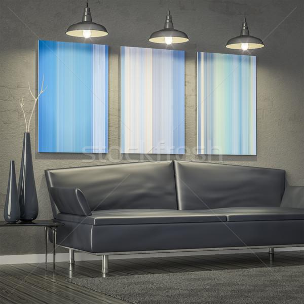 Wohnzimmer sofa modernen kunst wand 3d stock for Wand kunst wohnzimmer
