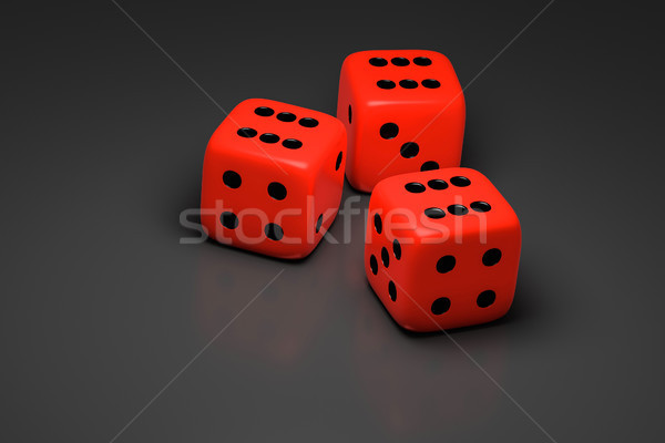 three red dice on a gray background Stock photo © magann