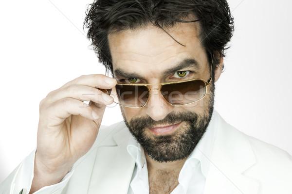 человека борода красивый мужчина солнце очки улыбка Сток-фото © magann