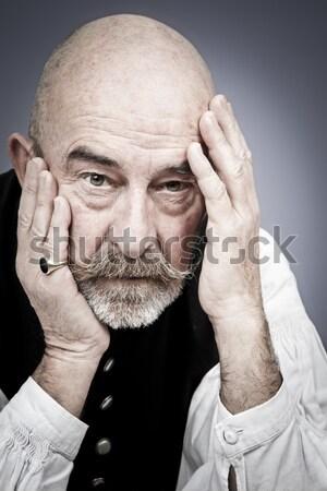 Vieillard deuil gris barbe homme fond Photo stock © magann