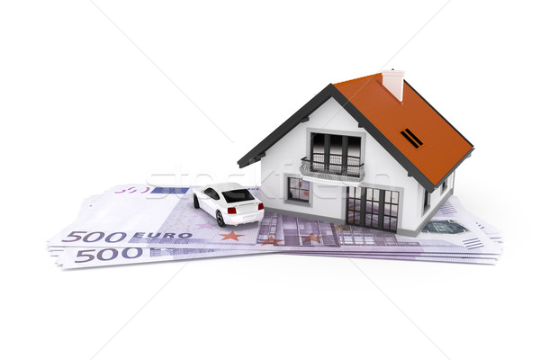 house and car above money Stock photo © magann