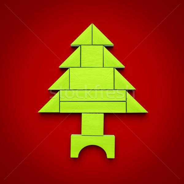 Albero di natale blocchi illustrazione 3d albero felice sfondo Foto d'archivio © magann