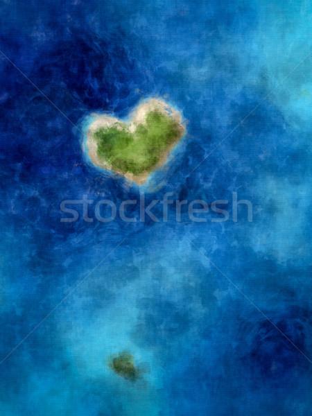 Hart eiland diep Blauw zee Stockfoto © magann