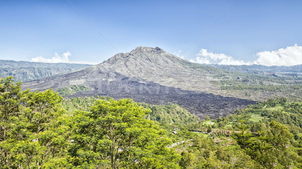Bali volkan gökyüzü ağaç çim güzellik Stok fotoğraf © magann