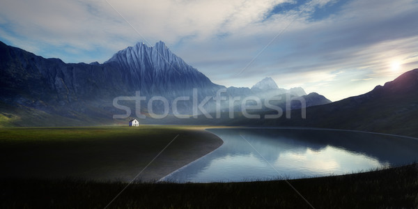 lonely house at the lake Stock photo © magann