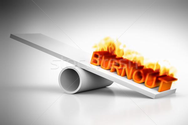 Kiégés piros szó tűz munka egészség Stock fotó © magann