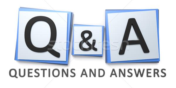 Kérdések válaszok felirat 3D renderelt kép Stock fotó © magann