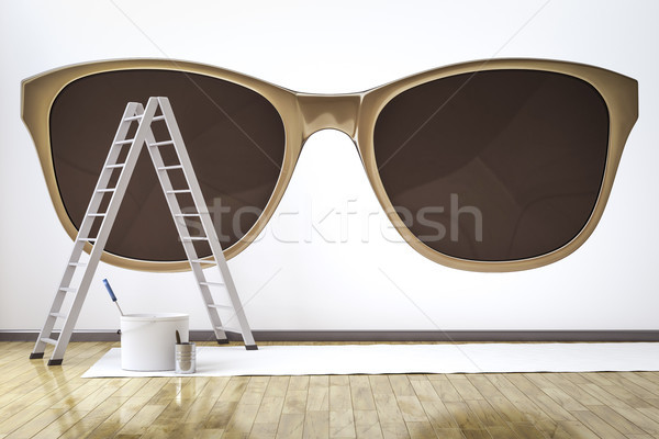 a room with stylish sunglasses motive on the wall Stock photo © magann