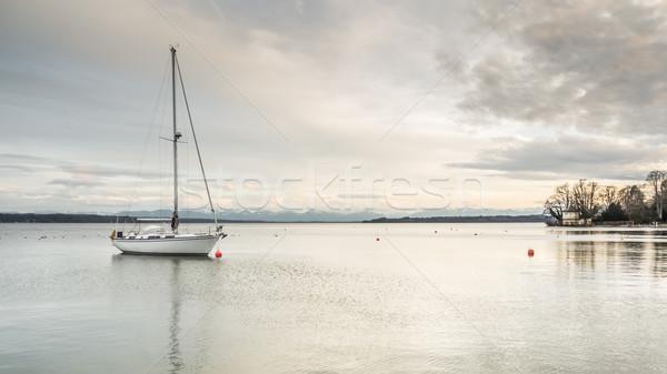 Eenzaam boot afbeelding winter water zonsondergang Stockfoto © magann